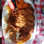 Wienerschnitzel, sausage & chicken with dumplings