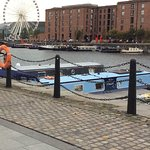 A view over the dock with the big wheel.