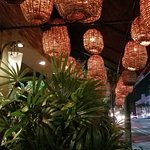 the restaurant is full of beautiful chandeliers and lighting fixtures - inviting atmosphere