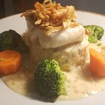 Melt in the mouth panfried hake crushed jersey royals and creamy chowder&leek sauce👌