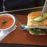 BLTA with a side of tomato bisque soup