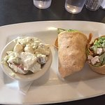 Ceasar wrap and side of potato salad