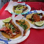 Adobada (spicy pork, front) and chorizo (middle)