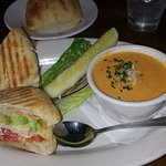 Panini sandwich with soup - yummy!
