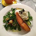 Salmon special of the day servd with poached eggs and salad