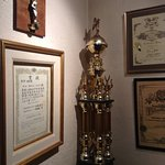 Some of the Owner Chef's awards on back wall