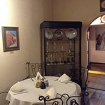 More medals near an intimate dining table round
