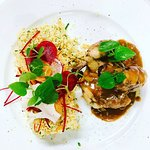 Chicken wings with mushroom sauce & spicy couscous