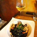 Spaghetti seafood with black ink