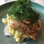 kulmule med grov kartoffelmos og syltet fennikel