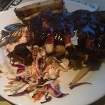 American beef ribs with chips and coleslaw