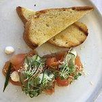 Entree: Salmon Gravlax - Dill cured salmon, cucumber, horseradish cream