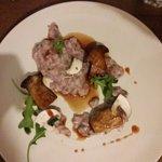 Braised king trumpet mushrooms,risotto, bordelaise sauce, rocket