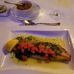 Dover Sole with Diced Tomatoes and Mashed Potatoes