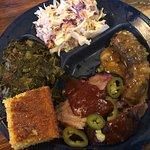 Brisket, sausage, and greens (yum!)