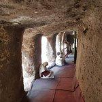 Ethiopian Christians in Adadi Mariam Rock Church on service