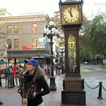 Marla at the Steam Clock in Gastown