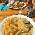 Vegetariano y solomillo a la mostaza