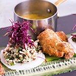 CRISPY KARAAGE CHICKEN with cucumber ribbons, mooli, kale & cauliflower couscous salad and katsu