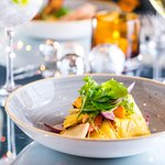 Wild boar ravioli with roasted vegetables, beef-dripping sauce, Gran Moravia cheese and rocket