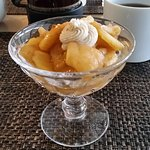 Fried Apples & Cream with French press coffee in background