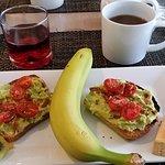 Avocado Toast with fruit, cherry juice & French press coffee