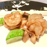 Stir-fried prawns with mushrooms and seasonal vegetables in XO chili sauce