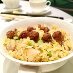 """""""Cuisine Cuisine"""" Fried rice with foie gras, barbecued pork and shrimps"""