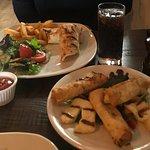 Chicken wrap with halloumi and borek