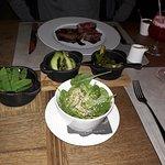 The sides: Pak choi, green asparagus, baby spinach, & sugar snap peas