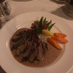 Duck Breast Sautéed with a Coffee Crust, Finished with a Brandy Balsamic Sauce