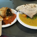 Samosa and Pea Soup/bread