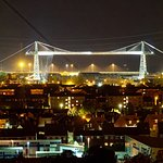 Transporter Bridge at night. Newport South Wales, UK