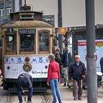Tram arrives at Infante near Cais da Ribeira
