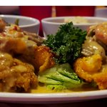 Grab Cakes & Shrimp Smothered in Mushroom Sauces