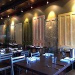 Dining room - interesting wall of doors!