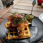 Fried chicken and waffle with jalapeno chutney