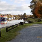 A few boats moored at the top lock.