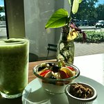 PROBIOTIC GREEN JUICE $5 -$7 Pineapple, mint, ginger, cucumber, spinach & dates on probiotic yog