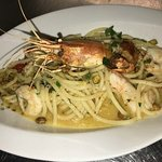 Exquiste, beautifully-presented Seafood Scampi!