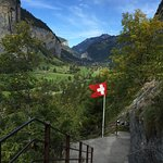 I love this unique view of the Lauterbrunnen Valley from the Truemmelbach exit