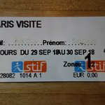 Paris Metro 3 day ticket
