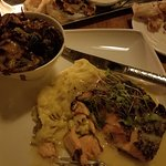 Peppered Salmon with Mash Potatoes, Brussels Sprouts