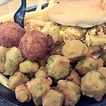 """Pulled chicken, salty fried okra, hush puppies that had too much fried, and not enough """"puppy"""""""