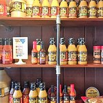 Lots of mustard-based hot sauces to take home with you