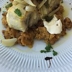 Bacalhau com puré de batata doce