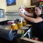 Making our pineapple drink