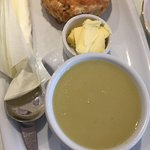 Cheese scone and leek & potato soup