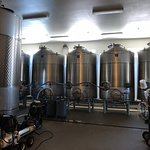 Large vats of wine being blended