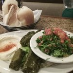 Appetizer Sampler: Hummus, cold grape leaves, tabouli, and hot pita